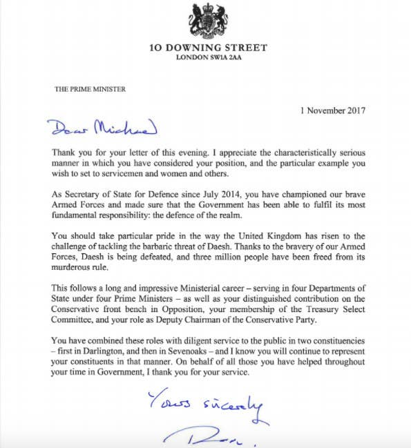 Sir michael fallon has resigned as defence secretary prime minister theresa may accepted fallons resignation writing that hed set an example for servicemen and women spiritdancerdesigns Gallery