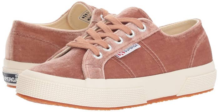 dea61a87f76c A pair of pretty AF pink velvet Superga sneakers, because they're your  go-to sneakers anyway, so why not cover them in velvet.