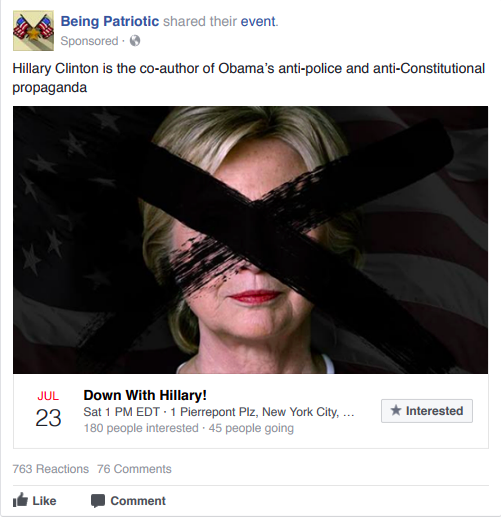 """This ad on the Russian-linked """"Being Patriotic"""" Facebook page targeted English-speaking New Yorkers over the age of 18, , according to metadata released by the House Intelligence Committee."""