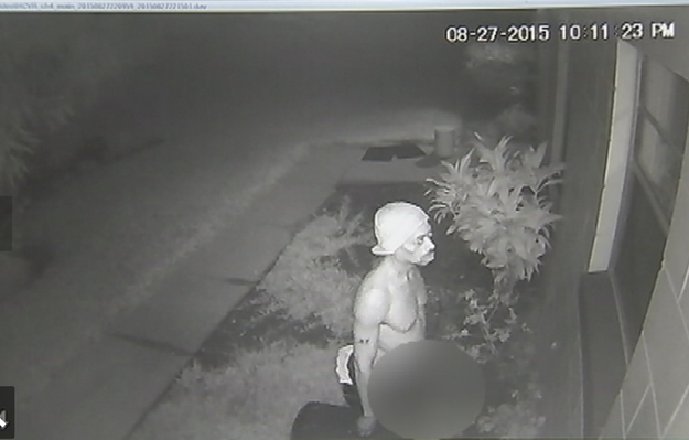 In Winter Garden, Florida, this surveillance photo captured a man who was outside a woman's home for 25 minutes, fully exposed, lurking around her house and peeping through windows.