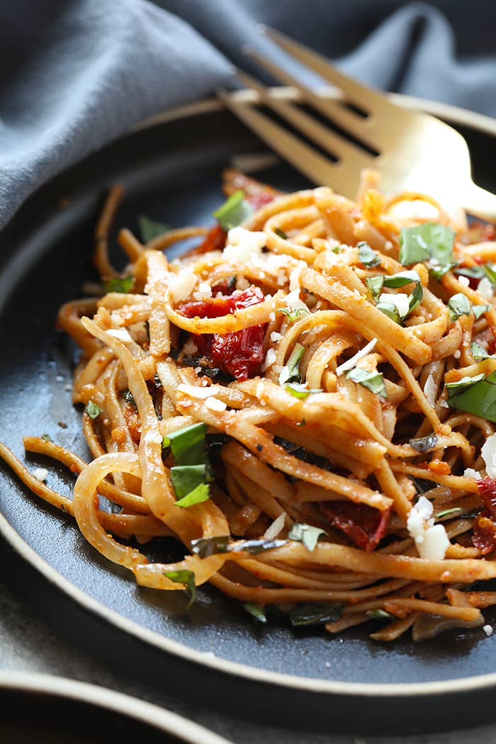 Keep a jar of sun-dried tomatoes in the pantry and whip them out to make this foolproof pasta dish. The recipe calls for almond or coconut milk, but you can really use whatever nut or regular milk you have in the fridge. Get the recipe.
