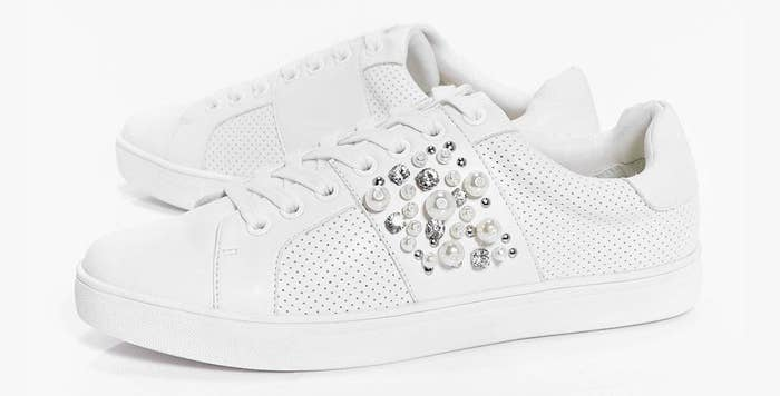 89bf03c84a8a A pair of pearl and jewel embellished lace-up sneaks so you don t have to  give up on your go-to white sneakers just yet.