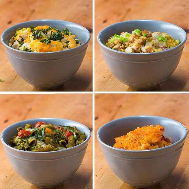Assado de arroz de couve-flor e frango8 porçõesVocê vai precisar de:400g (4 xícaras) de couve-flor300g (2 xícaras) de flores de brócolis300g (2 xícaras) de frango cozido em cubos50g (1 1/2 xícara) de queijo muçarela picado1 xícara de queijo cheddar ralado, dividido1c. de chá de alho em pó1c. de sopa de cebola em pó Sal a gosto salsinha fresca, opcional, para servirModo de preparo:1. Preaqueça o forno a 200 °C.2. Em uma grande tigela, coloque o arroz de couve-flor, brócolis, frango, muçarela, cheddar, alho em pó, cebola em pó e sal. Mexa bem para que fique homogêneo.3. Adicione a mistura à assadeira e então cubra com papel alumínio.4. Leve ao forno por 40 minutos5. Descubra e cubra com o restante de cheddar.6. Deixe assando por 10 minutos.7. Retire do forno e espere esfriar de 5-10 minutos.8. Enfeite com salsinha, se desejar, e sirva.9. Bom apetite!---Escalopes de batata doce8 porçõesVocê vai precisar de:1 batata-doce grande2 colheres de sopa de azeite de oliva300g (2 xícaras) de cebola, fatiada4 dentes de alho picados3 colheres de sopa de farinha de trigo integral235mL (1 xícara) de caldo de galinha ou de legumes235mL (1 xícara) de leite ou alternativa ao leite Sal a gosto Pimenta a gosto2 colheres de chá de tomilho fresco, divididas150g ( 1 ½ xícaras) de queijo cheddar, divididas55g (½ xícara) de queijo parmesãoModo de preparo:1. Preaqueça o forno a 180°C.2. Usando um ralador, fatie a batata-doce e adicione uma camada homogênea a em uma assadeira.3. Aqueça uma panela em fogo médio e adicione azeite de oliva.4. Coloque as cebolas e refogue por 3 a 4 minutos.5. Coloque alho e refogue por 1 a 2 minutos.6. Adicione a farinha e cozinhe até que estejam combinados.7. Adicione o caldo e mexa até estar homogêneo8. Adicione o leite, sal, pimenta e metade do tomilho.9. Mexa até combinar, depois ferva por 1 a 2 minutos.10. Retire do fogo e deixe descansando.11. Coloque metade do molho cremoso por cima das batatas.12. Polvilhe cheddar e parmesão.13. Coloque uma camada homogênea