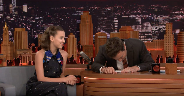 Jimmy hadn't watched Stranger Things 2 yet, but Millie couldn't stop herself from revealing a mini spoiler, because she had some tea to spill.