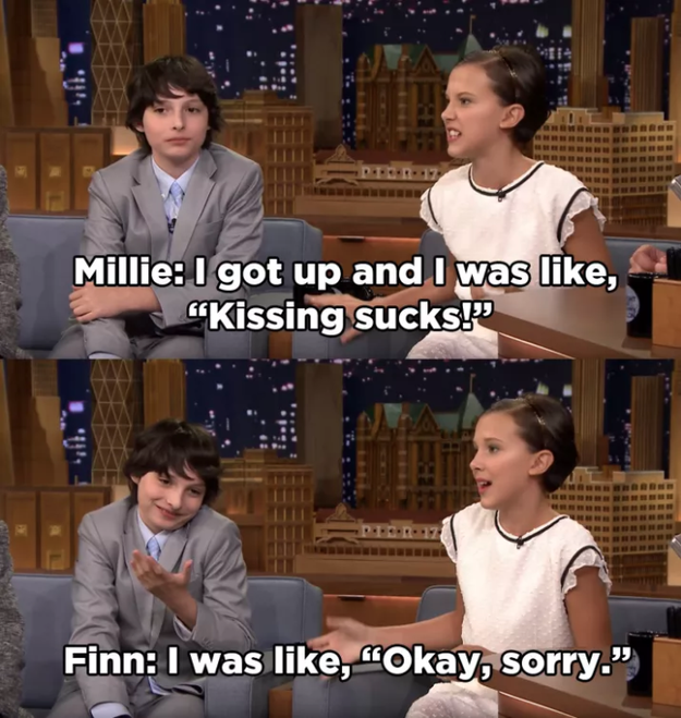 We found out last year that their kiss in the first season had been Millie's first, and she wasn't a huge fan of the whole thing.