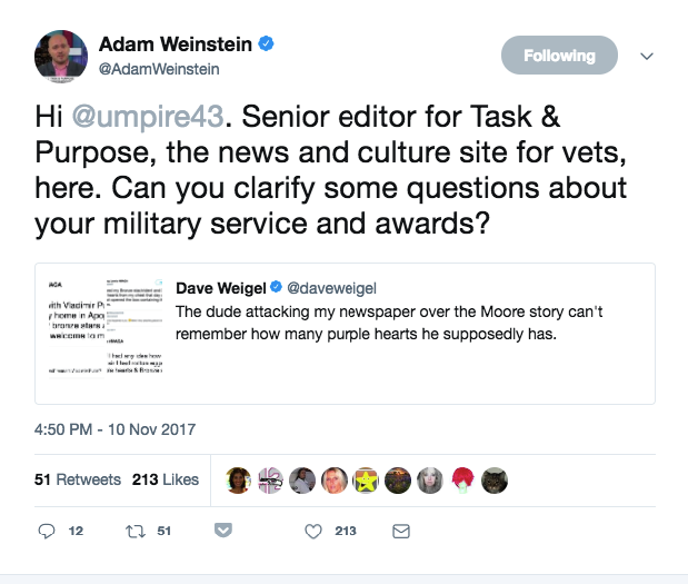 The user has also repeatedly tweeted about their military service service record, but has miscounted the number of Purple Hearts they allegedly received. One Twitter thread challenged the user's military-related claims in detail.