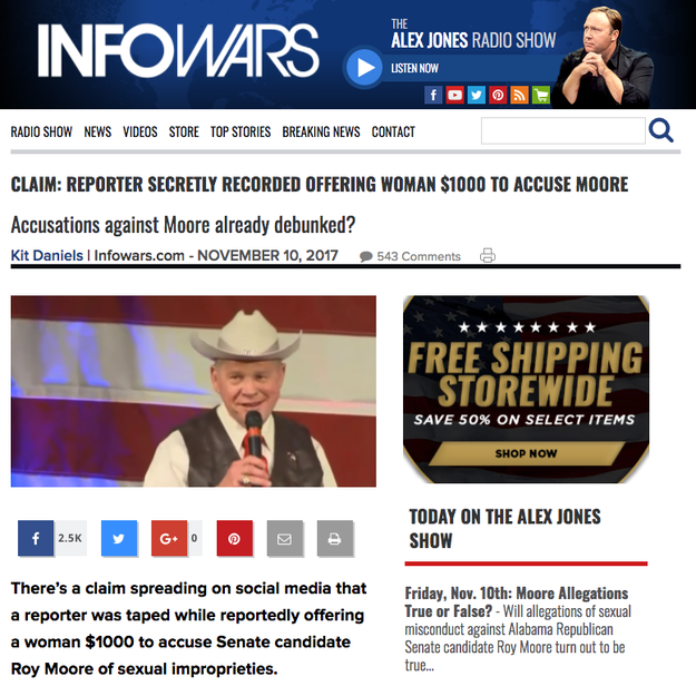 """InfoWars also published the claim, asking if the accusations against Moore were """"already debunked?"""""""