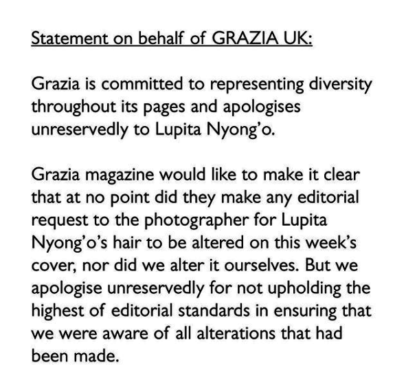 "The magazine issued a statement via Instagram early this morning, claiming that they didn't ask the photographer to alter the image, but they apologize for ""not upholding the highest of editorial standards in ensuring that we were aware of all alterations that had been made."""