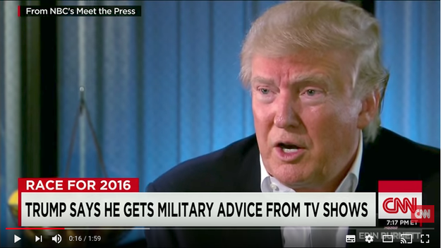 "Back in 2015, during the early days of the election campaign, MSNBC's Chuck Todd asked Trump on Meet the Press who he talked to for military advice. ""Well, I watch the shows,"" replied the now commander-in-chief."