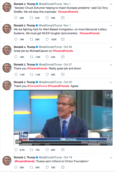 "It's weird though, because for someone who doesn't ""watch much TV,"" Trump sure does tweet all the time about his favorite show, Fox & Friends..."