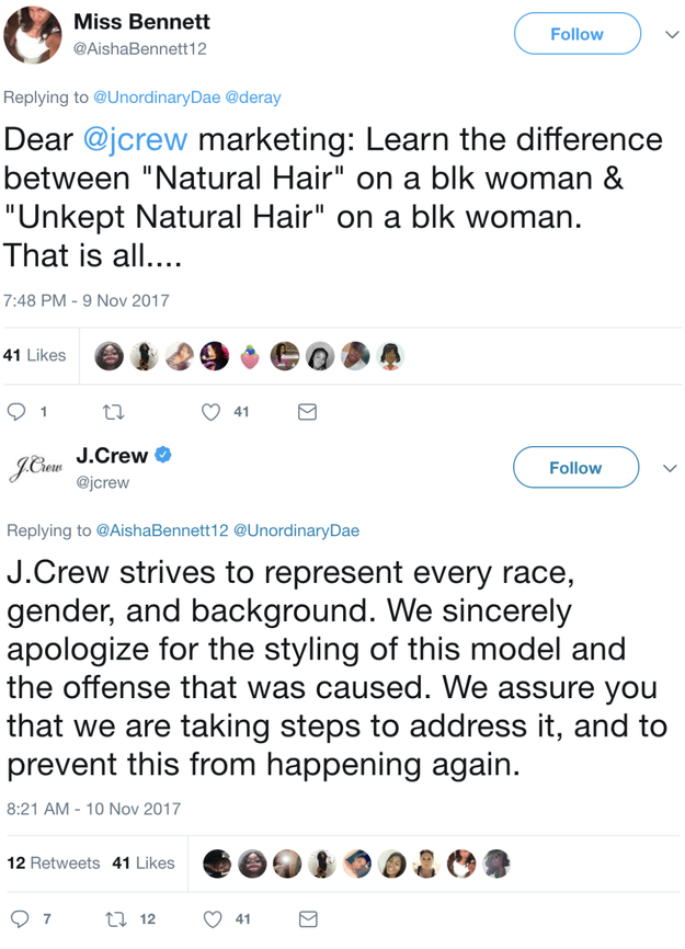 "J. Crew also weighed in, ultimately tweeting an apology ""for the styling of this model and the offense that was caused."""