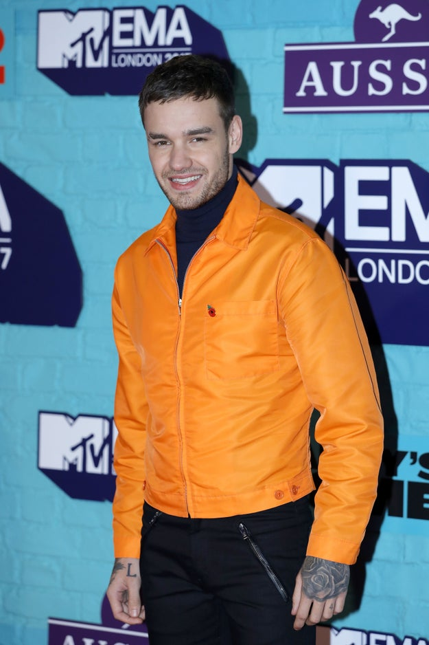 Here is Liam Payne, who showed up looking lovely in orange at tonight's MTV EMA awards in London.