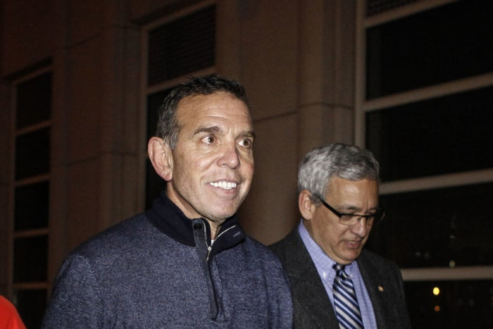 FIFA vice president Juan Angel Napout exists Federal District Court in Brooklyn on Dec. 15, 2015.