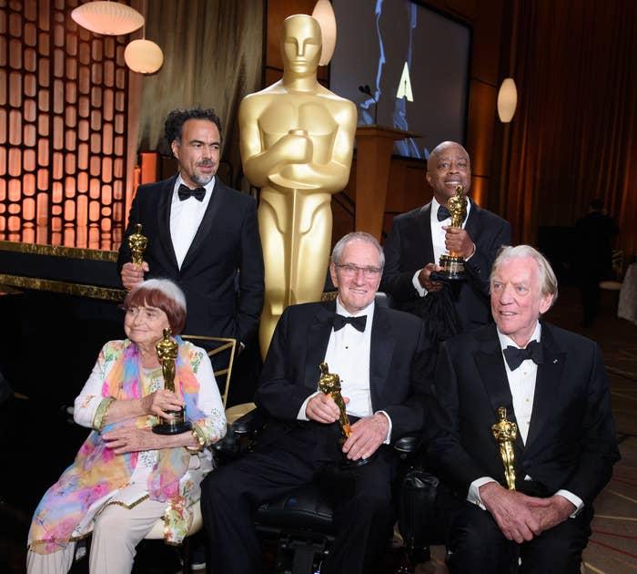 Left to right: Honorees Agnès Varda, Alejandro G. Iñárritu, Owen Roizman, Charles Burnett, and Donald Sutherland, at the 2017 Governors Awards.
