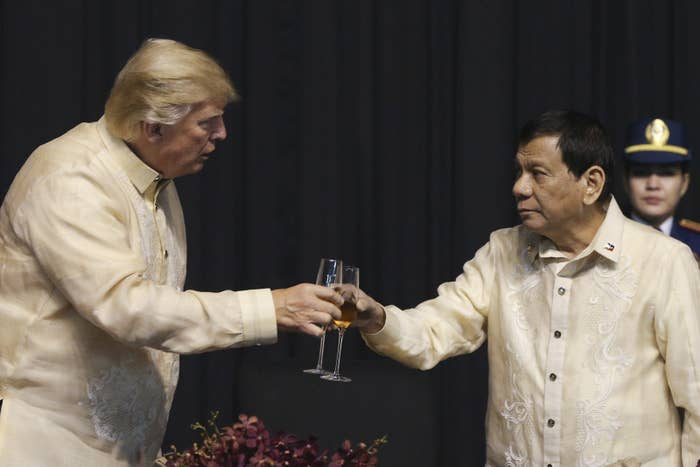 The summit opened Sunday night with a gala where President Donald Trump, Philippines President Rodrigo Duterte, and other foreign leaders were entertained by singers and dancers, and served a four-course Philippine-Asian fusion meal prepared by chef Jessie Sincioco.