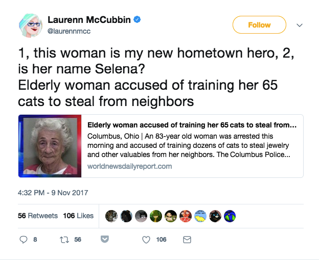 """This woman is my new hometown hero,"" someone else said."