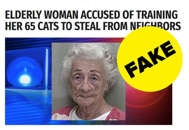 A fake news story about an 83-year old woman who got arrested for training her cats to steal from the neighbors has gone viral.