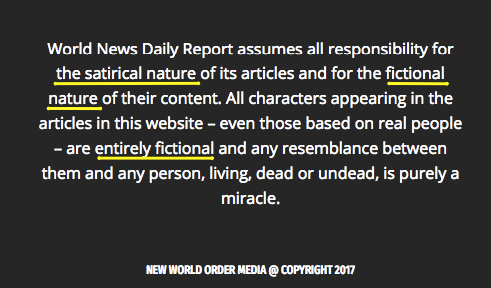 The footer on the website clearly says the content is completely made up.