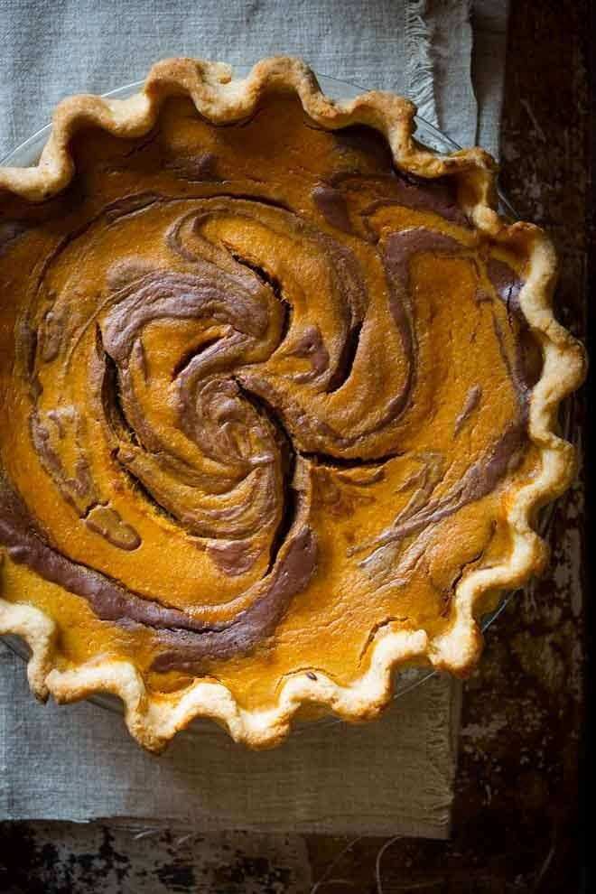 Classic pumpkin pie gets a major upgrade with a simple swirling of melted chocolate and butter. Once baked, it turns into a beautiful pattern that only looks like it took ages to make. Get the recipe here.
