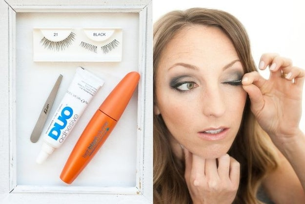 Cut fake lashes in half to apply the pieces evenly and prevent corner lifts.