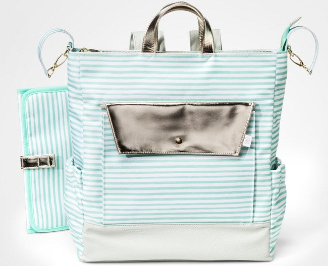 """The bag includes a matching changing pad and several internal pockets to keep you organized. Promising Review: """"I love my new diaper backpack! It is perfect! It's not too big and not too small. It feels very comfortable on your back, especially when you have to run after a toddler! I absolutely recommend this diaper bag to any parent. You will love it as much as I do!"""" —Libeth Get it from Target for $39.99."""