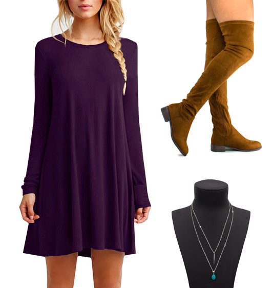 Get the T-shirt dress for $9.99+ (available in sizes S-XL and 42 colors), the boots for $29.99+ (available in sizes 5.5-11 and 18 colors), and the necklace for $7.18+ (available in seven colors).