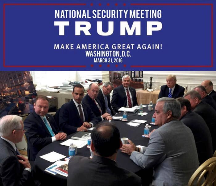 Trump met with his foreign policy team on March 31, 2016.