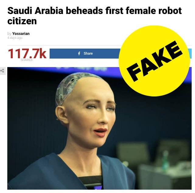 """The Duffel Blog article, which has almost 120,000 engagements on Facebook, has been posted by many people who did not realize it is satire. It says Sophia the robot, the world's first robot citizen, was stoned and beheaded because she was """"strutting around the city without a male escort, without a hijab, fluttering her plastic eyelashes at married men while expressing opinions of her own.""""A look at the Duffel Blog's """"about"""" page shows the website is meant to be comedic. """"We are in no way, shape, or form, a real news outlet. Everything on this website is satirical and the content of this site is a parody of a news organization,"""" the section says. It also claims the publication was started in 1797 and that it reported on """"President John Adams' $200 per week cocaine habit in March 1799."""""""