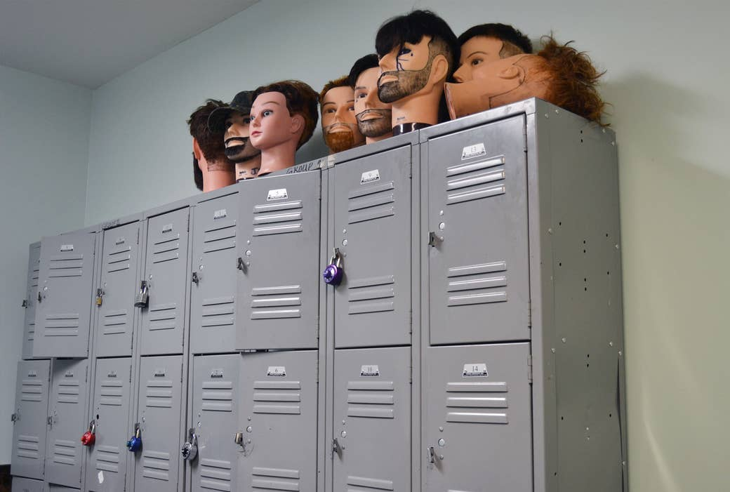 Mannequin heads used by Pro Way barbering students.
