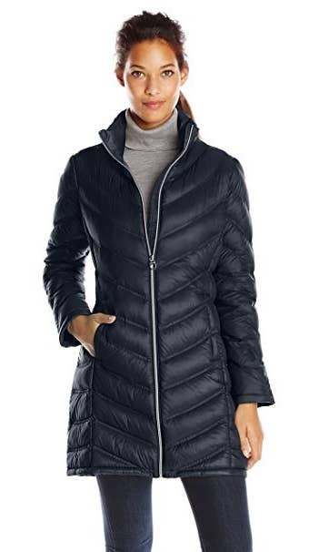 """Promising review: """"I love this coat! Very light but incredibly warm. And it isn't too bulky. I don't feel like a snowman in it. I'm very happy with my purchase."""" — Carol A. LenkGet it from Amazon for $89.99. Available in 7 colors, sizes XS–XL."""