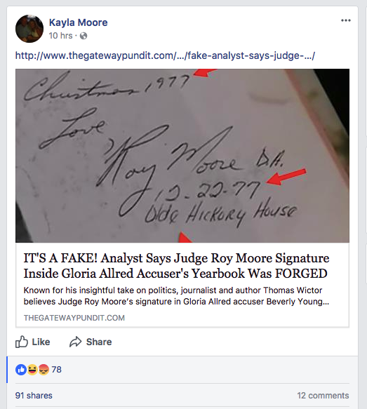 After Beverly Young Nelson came forward with allegations against the Senate nominee, Kayla Moore shared another Gateway Pundit article that baselessly attacked Nelson.