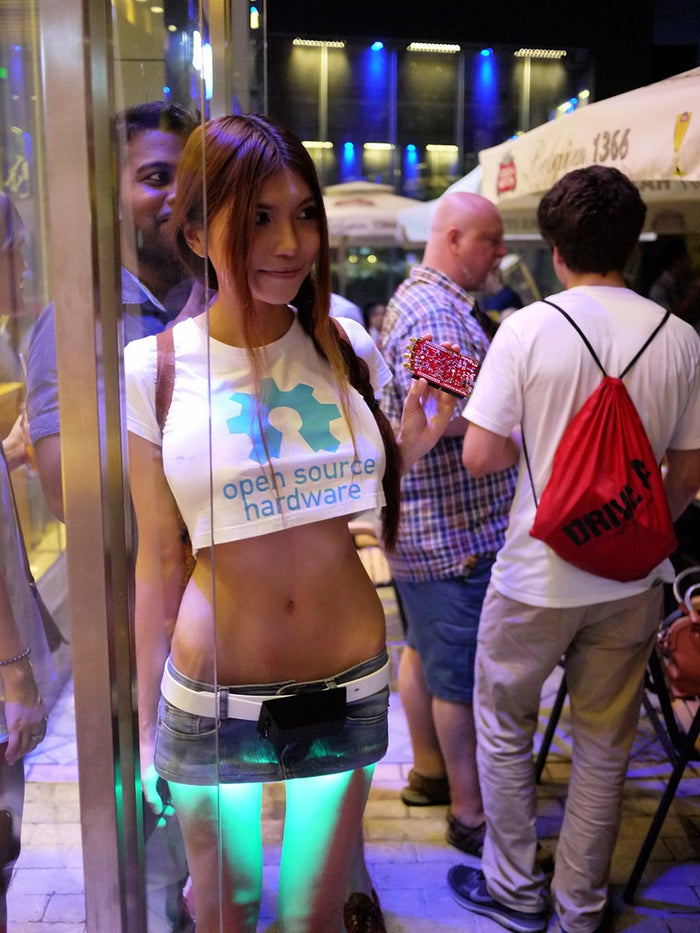 """Besides her LED-lit skirts and 3D printed wearables, she is also known for being very open about getting visible body modifications and her taste in clothing, writing on her website that she """"takes it in a direction that makes some people a bit uncomfortable"""" in order to challenge gender and tech stereotypes."""