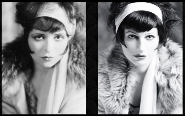 Then she got to do something super FUN! She re-created iconic photos from that decade like this 1926 shot of Clara Bow.