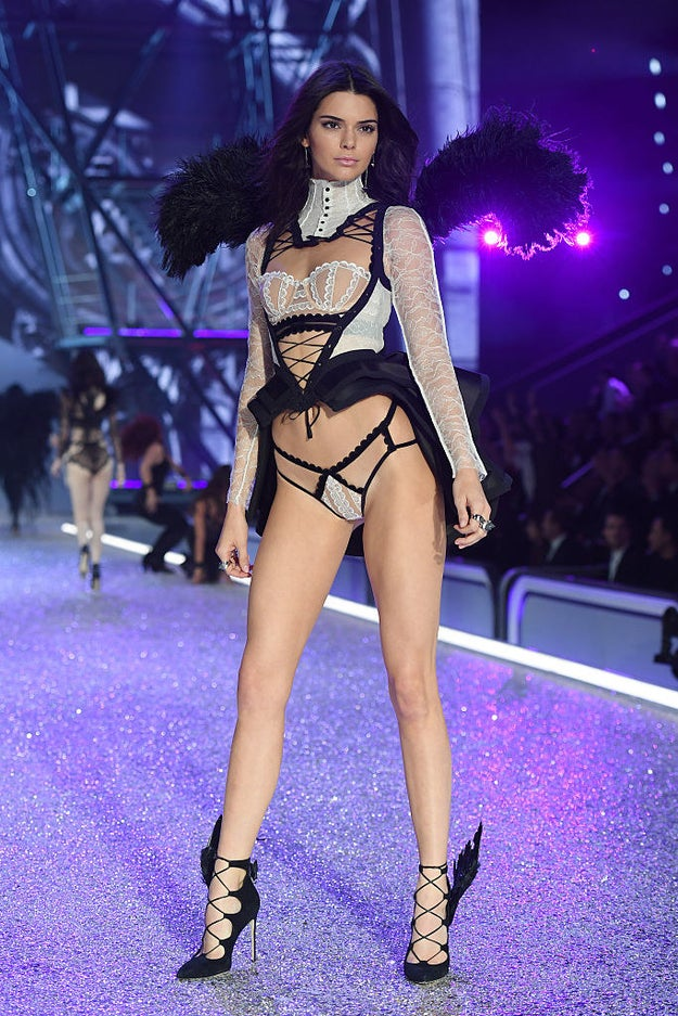 Here's Kendall Jenner, making her debut on the Victoria's Secret runway.