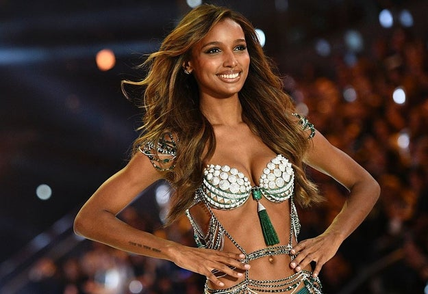 Here's Jasmine Tookes, wearing last year's Fantasy Bra which was valued at $3 million. The bra took 700 hours to make!