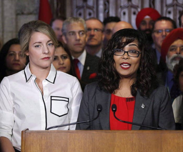 Liberal MP Iqra Khalid (right) presents M-103 on Feb. 15 alongside Minister of Canadian Heritage Melanie Joly in Ottawa.