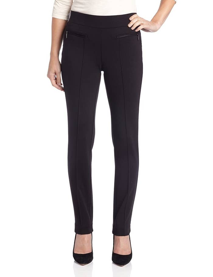 c1543c53de5ab Ponte leggings with seams down the front and zipper pockets so you can  totally wear them to the office as pants.