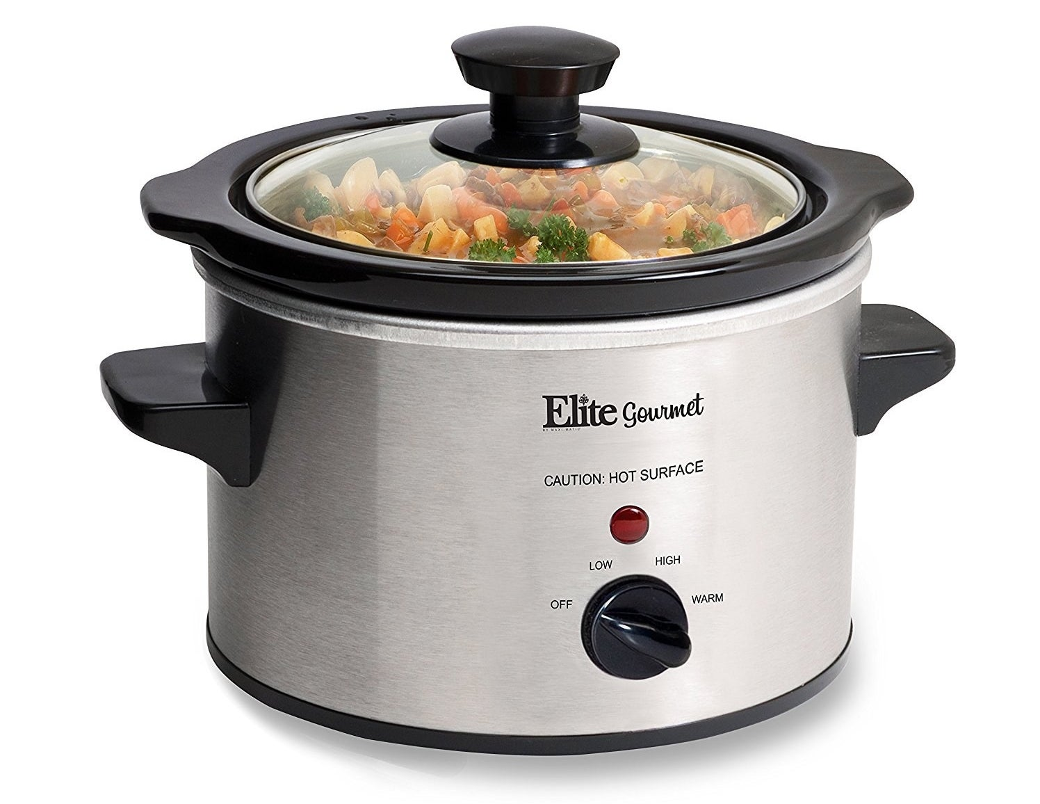 The slow cooker in silver, featuring black handles and a glass lid