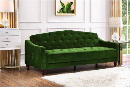 A Tufted Sofa Sleeper You Can Get Some Good Rest On After Tell Your Friends Already Made Plans