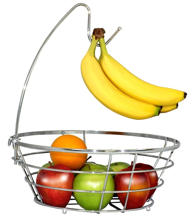 A chrome-finish basket that'll do more than just show off pretty fruits. Fun fact: Bananas actually stay fresh longer when hung up.