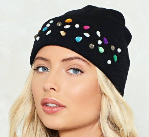 d8dea5e6 A beanie with diamanté embellishments — because you don't have to  compromise being a fancy-pants in order to be cozy.