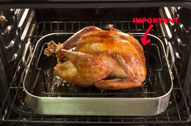 You don't elevate your turkey as it roasts.