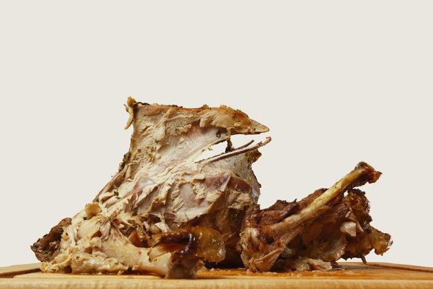 You store leftover turkey on the bones.