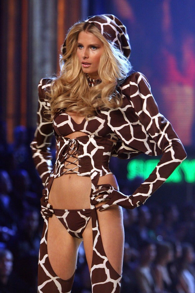Here's Hana Soukupova, rocking a wild giraffe ensemble.