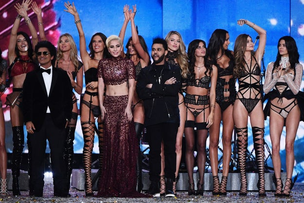 The performers: Bruno Mars, Lady Gaga, and The Weeknd, closing the show with some of the models.
