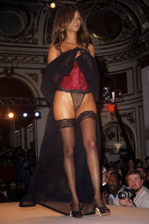 Here's Tyra Banks, smizing her way down the catwalk.