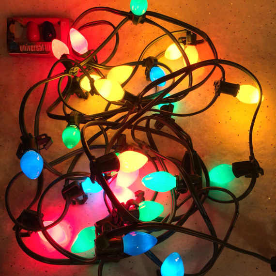 Having to help your parents untangle these old-school Christmas lights: