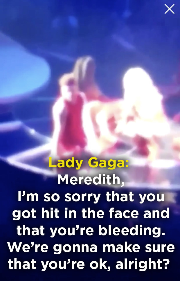 Gaga later asked for her name, apologized for the incident, and made sure the fan was fully taken care of.