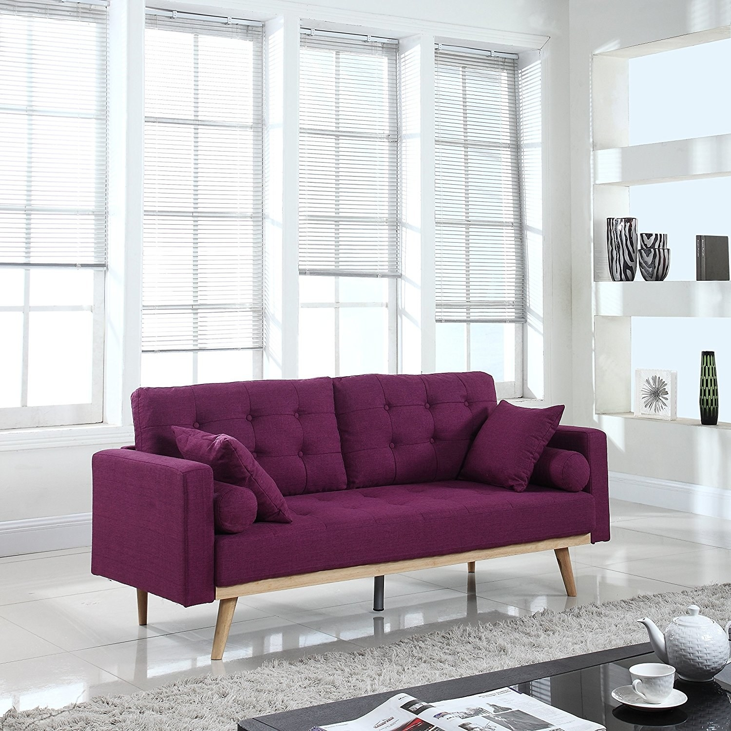 Superior A Tufted Linen Sofa In Wine, Because Nothingu0027ll Hide Wine Stains Better  Than Wine.