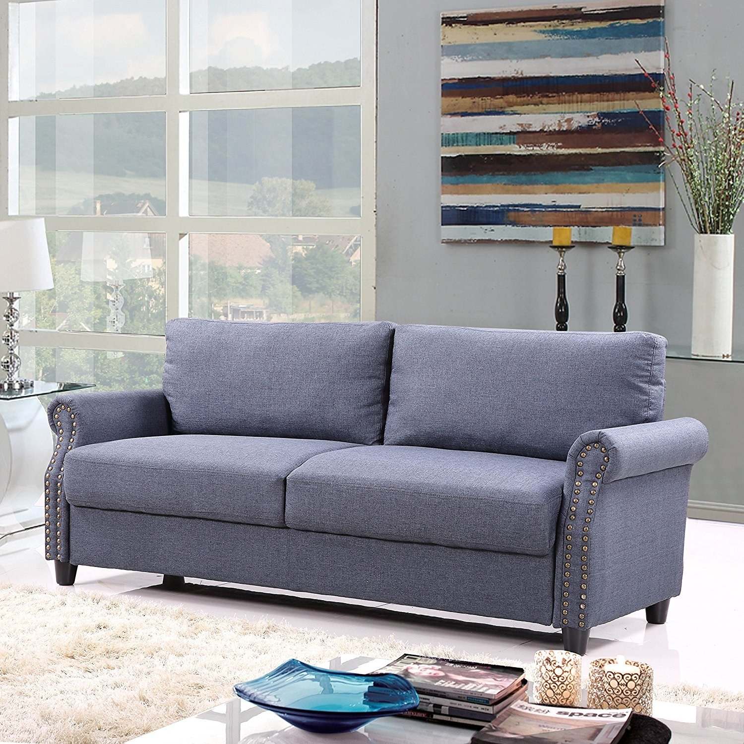And a classic linen couch with genius storage space for hiding all your  movie-night snacks.